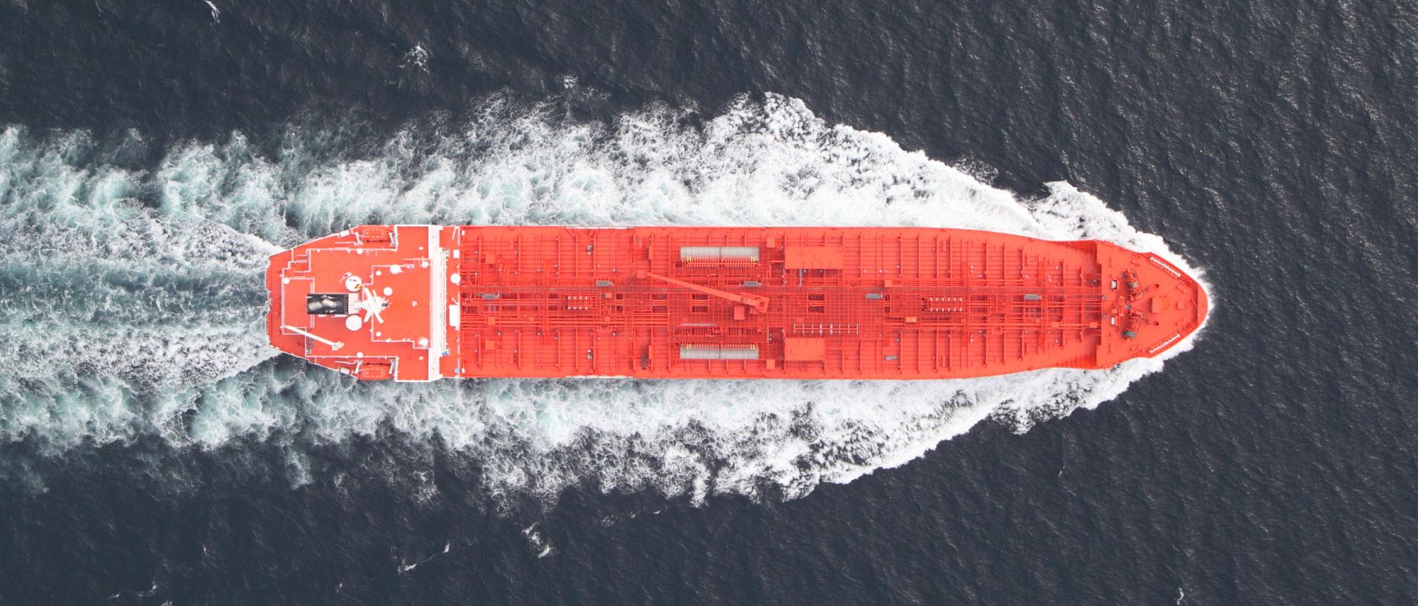 Ariel view of Cayman flagged merchant vessel